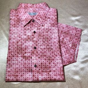 JAMES CAMPBELL men cotton shirt short s white pink
